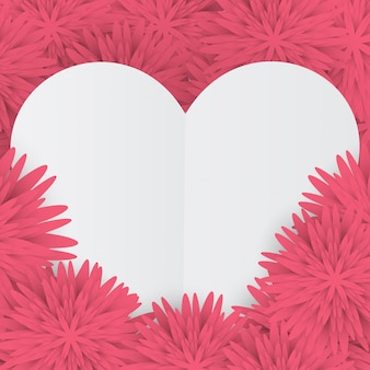 ピンクの花の背景に白いハートのバレンタインカード