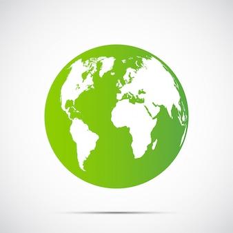緑の地球黒の背景に美しい影