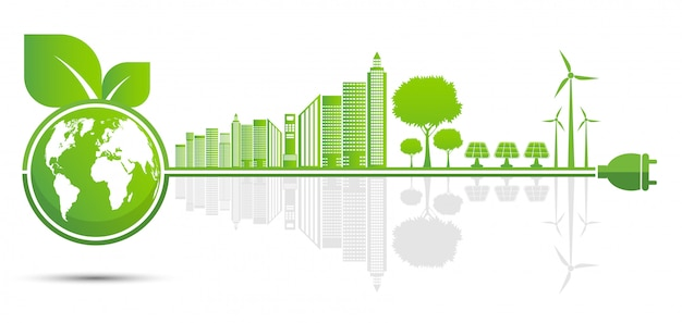 Экология и экологическая концепция, символ земли с зелеными листьями