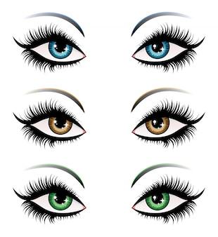 異なる色の女性の目