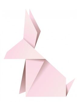 ピンクの折り紙のウサギ