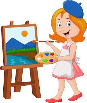 キャンバスに絵を描く少女