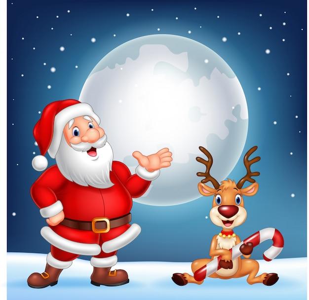 Санта и его олень рудольф