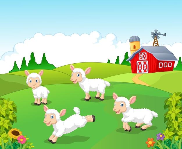 かわいい漫画の羊のコレクションは、農場の背景で設定