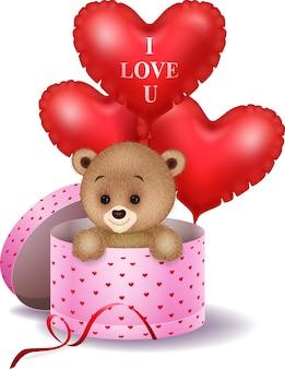 Мультфильм медведь в подарочной коробке с красным сердцем форме воздушного шара