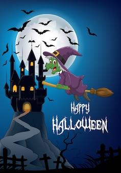 Зловещая ведьма ехала на метле в замок