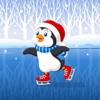 スケートをしているかわいい漫画ペンギン