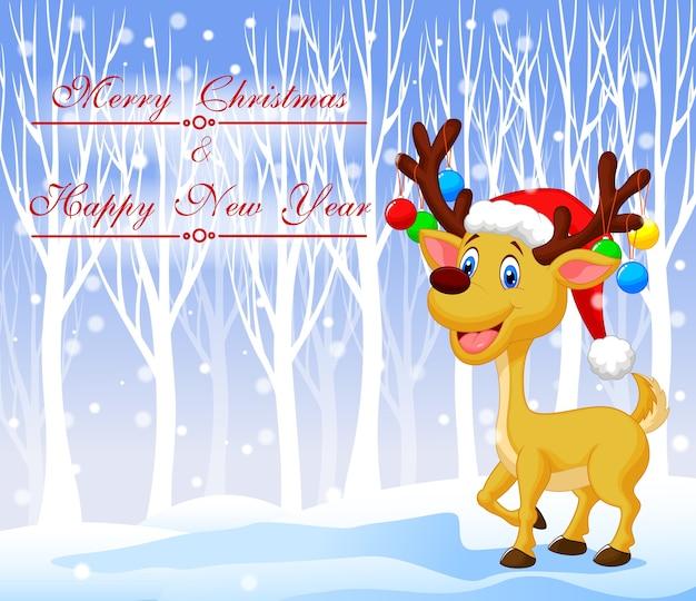 Рождественский олень мультфильм в красной шляпе