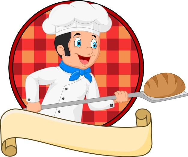 パンを持つベーカリーピールツールを保持している小さなシェフのパン屋
