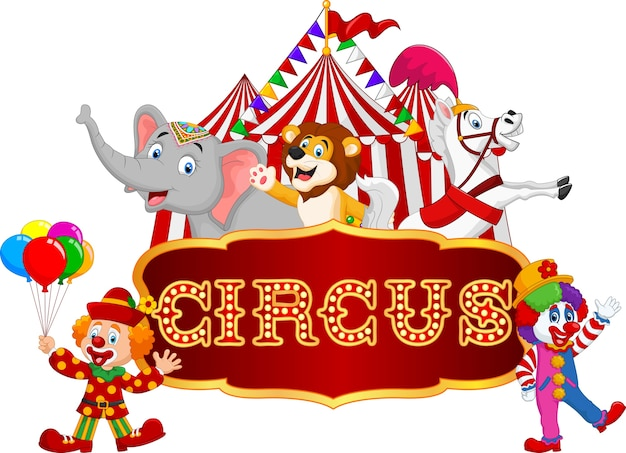 漫画の幸せな動物のサーカス