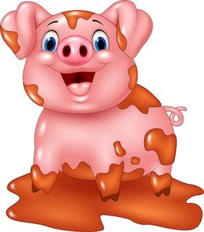 漫画の豚は、泥の水たまりで遊ぶ
