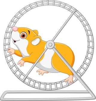 Симпатичный хомяк работает в катящемся колесе