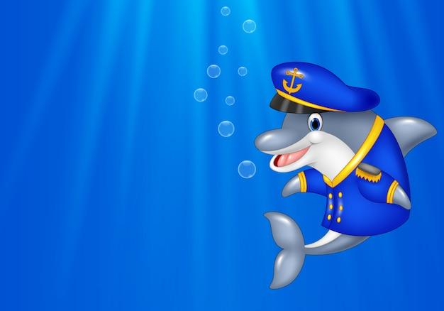 キャプテンの制服を着た漫画のイルカ
