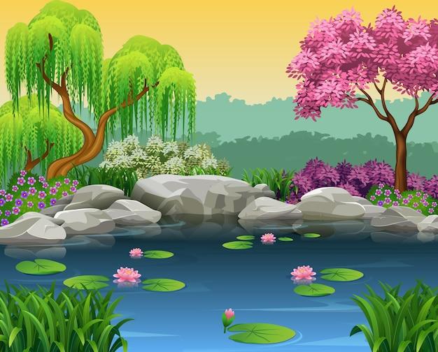 美しい川の背景のイラスト