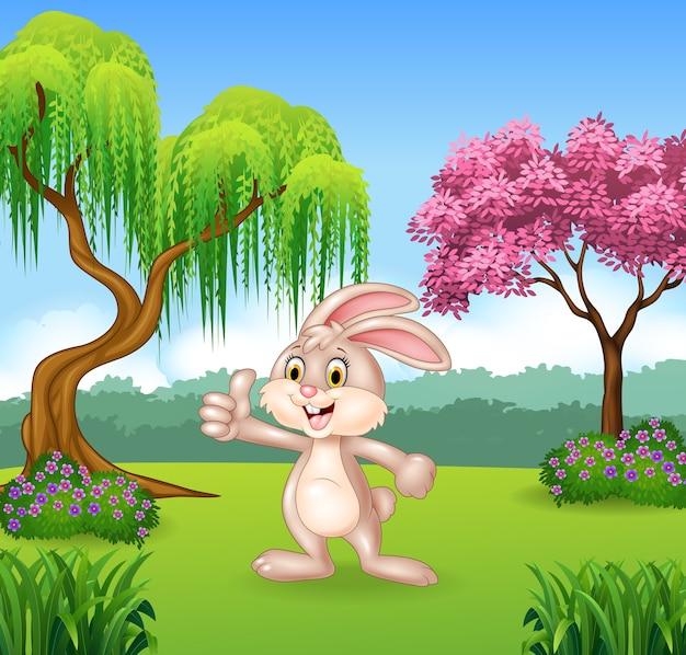 漫画の小さなウサギは、親指をあげて