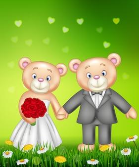 花嫁と新郎のテディベアは結婚する