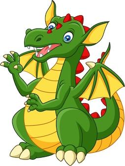 Мультфильм счастливый дракон, изолированных на белом фоне