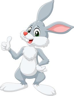 漫画、ウサギ、親指、上げられる、白、背景