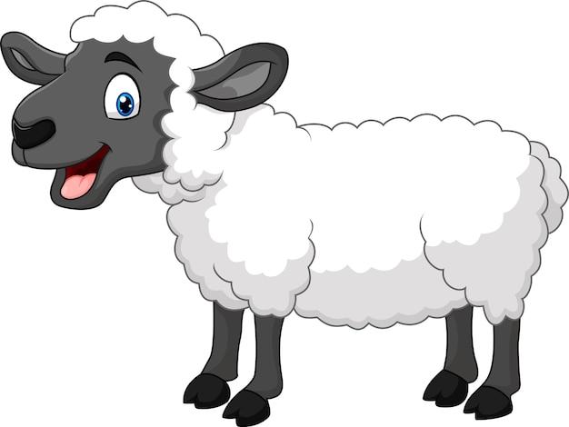 漫画の幸せな羊は、白い背景に