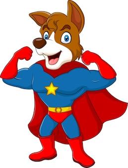 漫画のスーパーヒーロー犬は、白い背景に