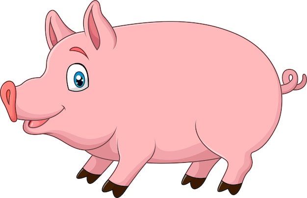 かわいい豚は、白い背景に