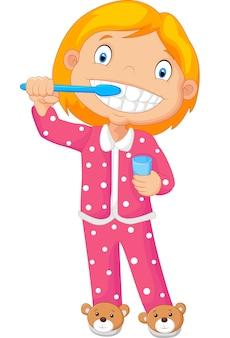 彼女の歯を磨く若い少女