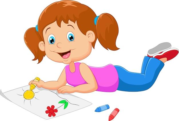 漫画の小さな美しい女の子のペイント紙
