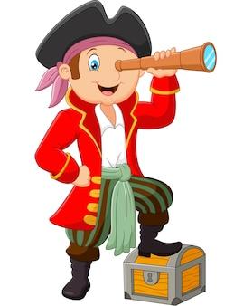 Мультфильм пират смотрит в бинокль
