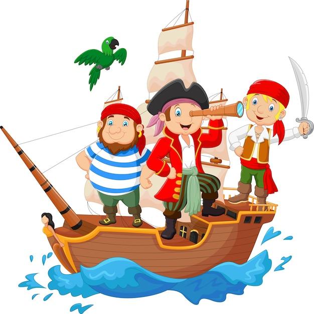 漫画の海賊が海をサーフィンしていた