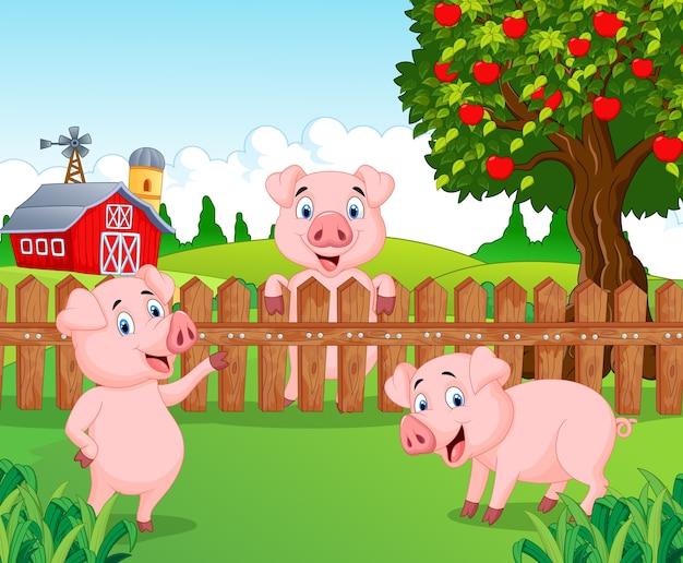 Мультяшная очаровательная свинья на ферме