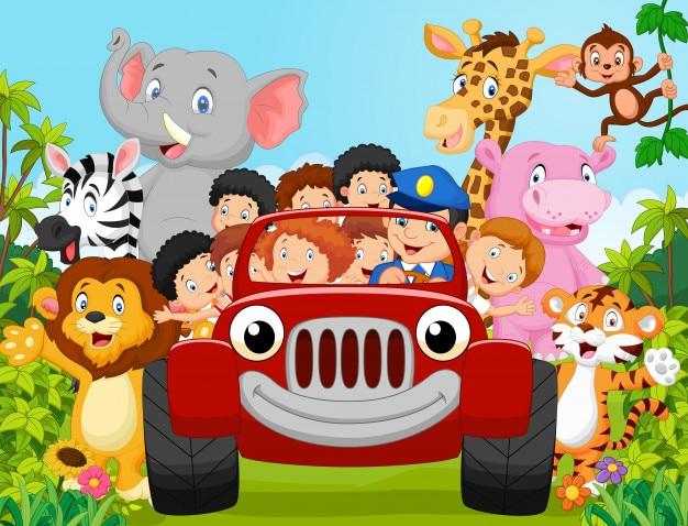 漫画の小さな子供は動物と幸せ