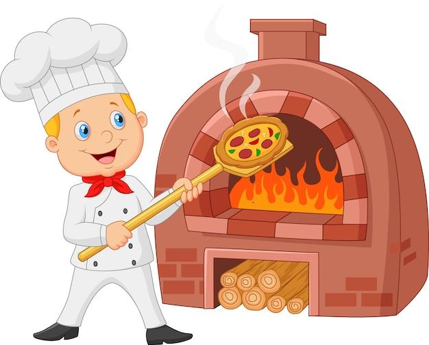 伝統的なオーブンでホットピザを持っている漫画のシェフ