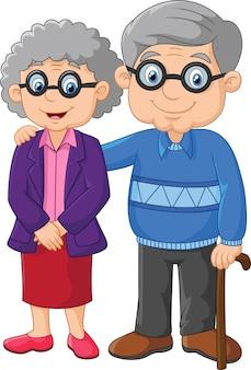 白い背景に漫画の高齢者のカップル