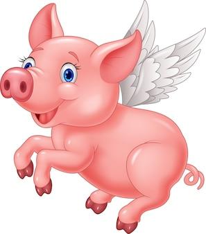 白い背景に飛ぶかわいい豚の漫画