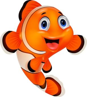 白い背景の上に幸せな漫画のクラウン魚