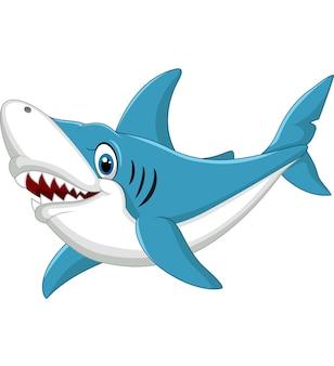 白い背景に漫画のサメ