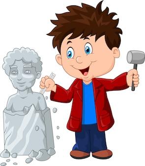 チゼルとハンマーを握っている彫刻家の少年
