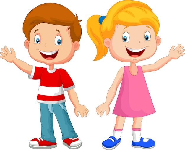 Симпатичные дети размахивая рукой