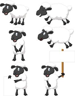 かわいい漫画の羊のコレクションセット