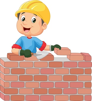 煉瓦を敷く建設労働者