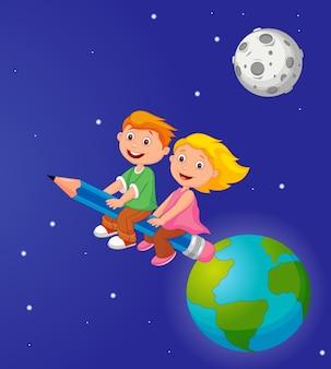 地球を離れる鉛筆に乗っている少年と少女