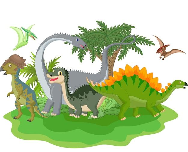 Мультяшная группа динозавров