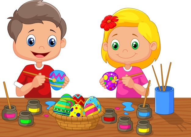 小さな子供たちがイースターの卵を絵