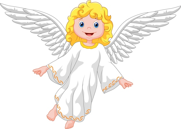 漫画の天使は、白い背景に