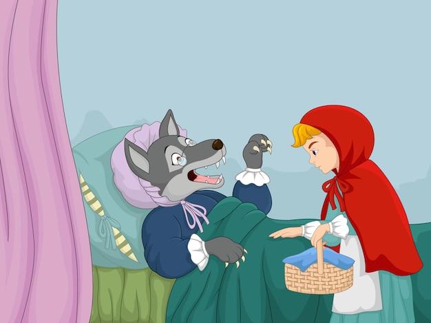 漫画の小さな赤い乗り物のフードとオオカミ