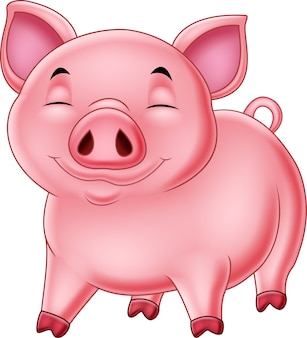 白い背景に漫画の幸せ豚
