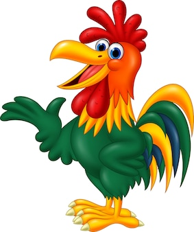 漫画の雄鶏を提示