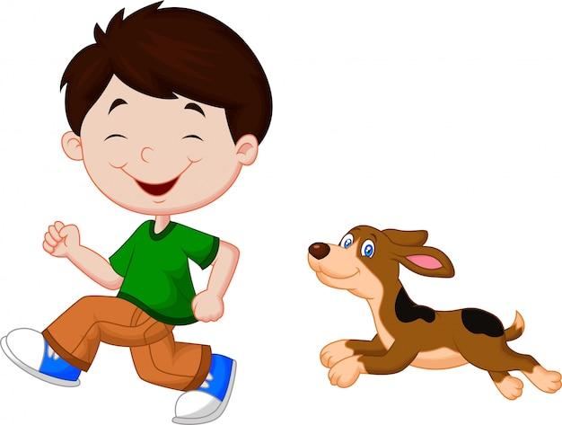 彼のペットと一緒に走っている少年のイラスト