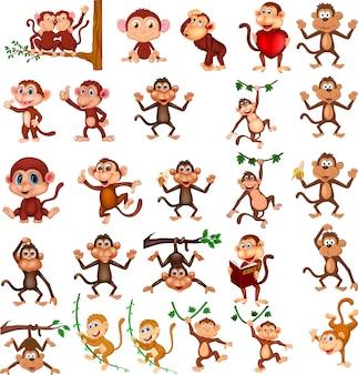 さまざまなアクションの漫画の幸せな猿のコレクション