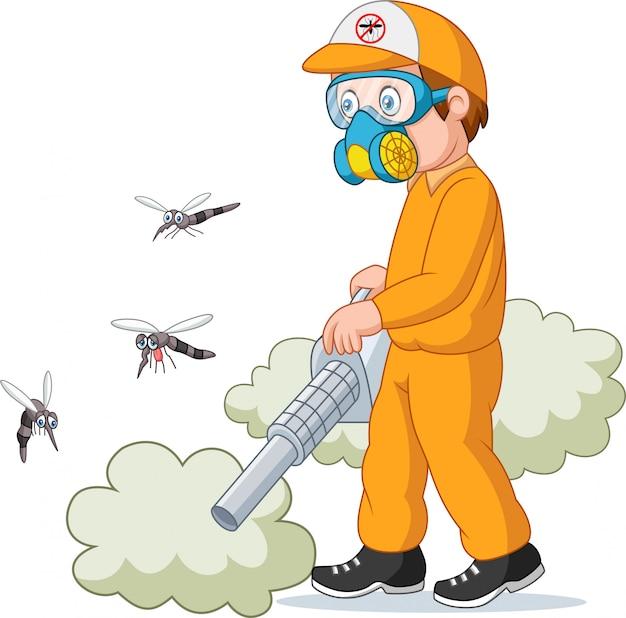 蚊を殺している駆除者の男